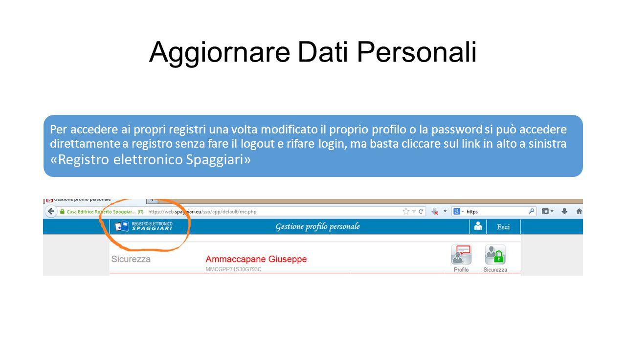 Aggiornare Dati Personali Per accedere ai propri registri una volta modificato il proprio profilo o la password si può accedere direttamente a registr