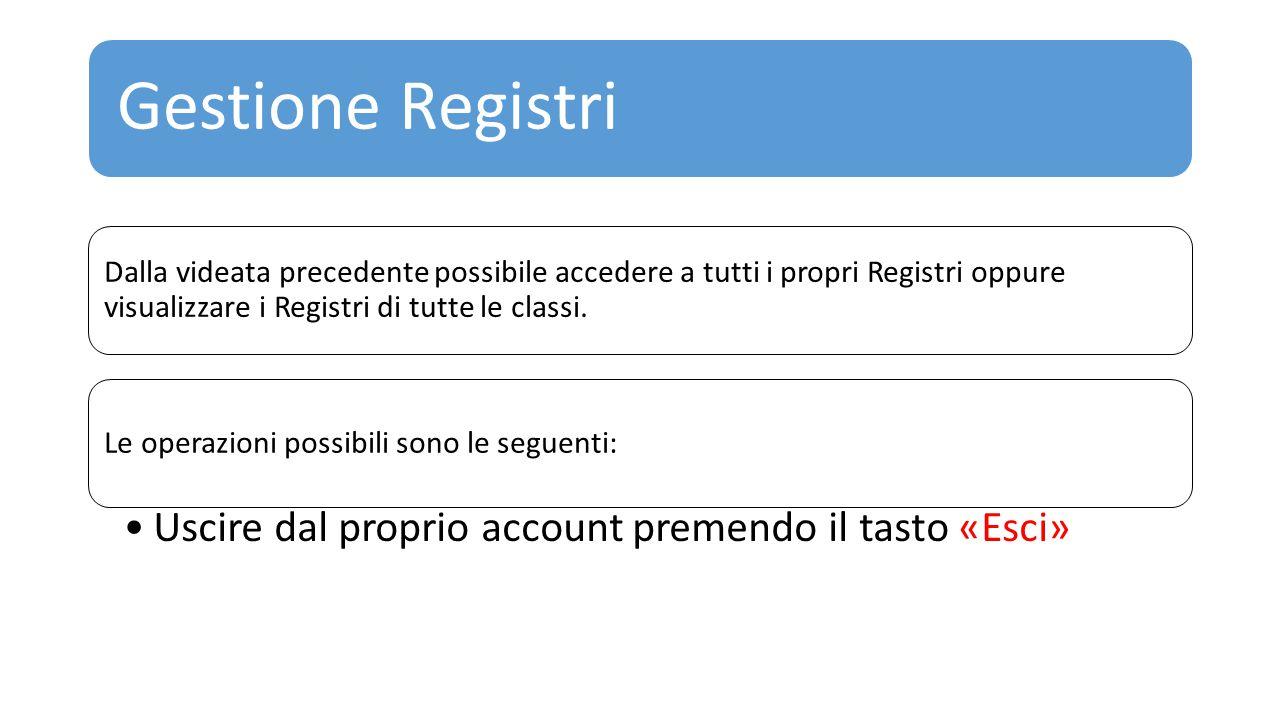 Gestione Registri Dalla videata precedente possibile accedere a tutti i propri Registri oppure visualizzare i Registri di tutte le classi. Le operazio