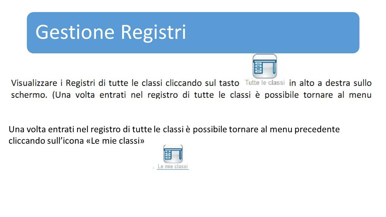 Gestione Registri Una volta entrati nel registro di tutte le classi è possibile tornare al menu precedente cliccando sull'icona «Le mie classi»