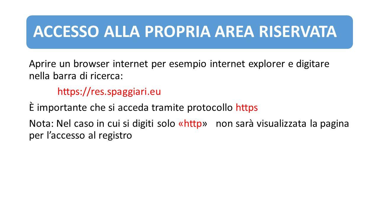 ACCESSO ALLA PROPRIA AREA RISERVATA Aprire un browser internet per esempio internet explorer e digitare nella barra di ricerca: https://res.spaggiari.
