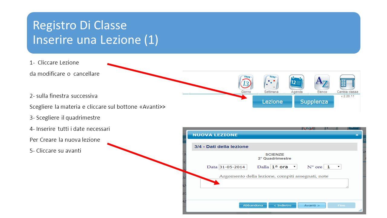 Registro Di Classe Inserire una Lezione (1) 1- Cliccare Lezione da modificare o cancellare 2- sulla finestra successiva Scegliere la materia e cliccar