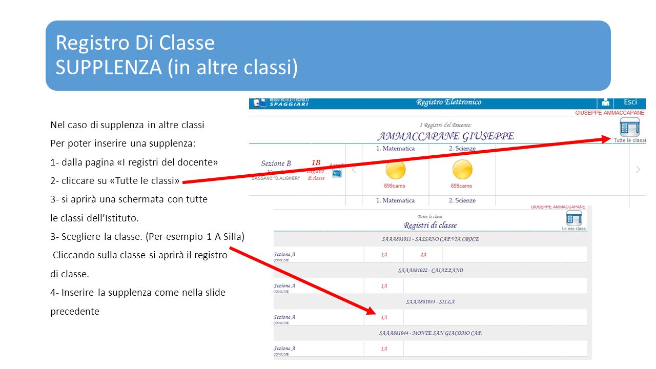 Registro Di Classe SUPPLENZA (in altre classi) Nel caso di supplenza in altre classi Per poter inserire una supplenza: 1- dalla pagina «I registri del