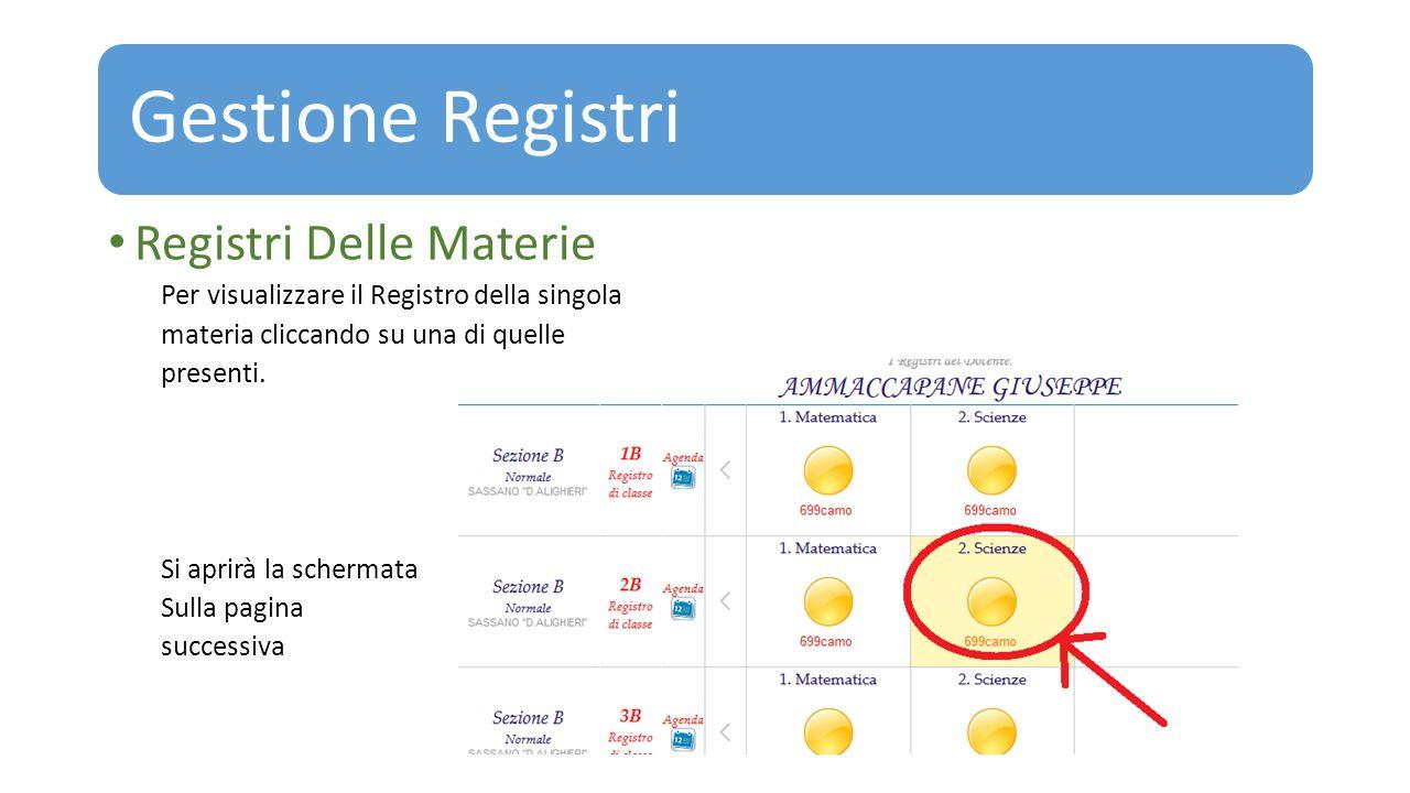 Gestione Registri Registri Delle Materie Per visualizzare il Registro della singola materia cliccando su una di quelle presenti. Si aprirà la schermat