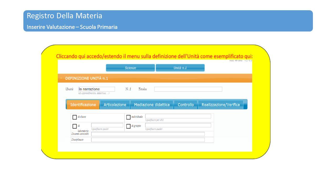 Registro Della Materia Inserire Valutazione – Scuola Primaria