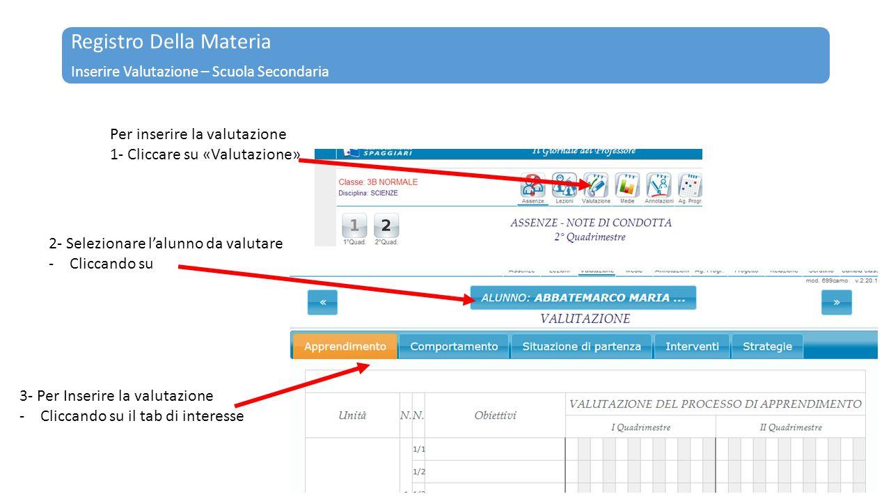 Registro Della Materia Inserire Valutazione – Scuola Secondaria Per inserire la valutazione 1- Cliccare su «Valutazione» 2- Selezionare l'alunno da va