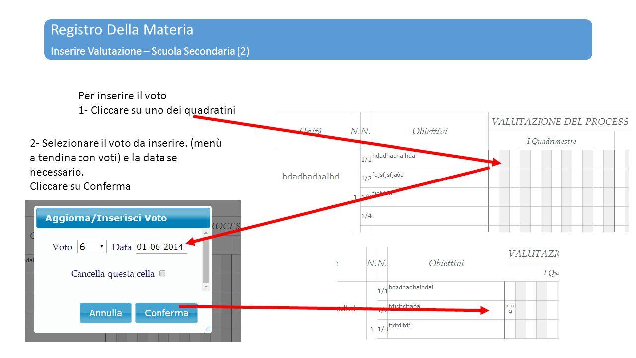 Registro Della Materia Inserire Valutazione – Scuola Secondaria (2) Per inserire il voto 1- Cliccare su uno dei quadratini 2- Selezionare il voto da i