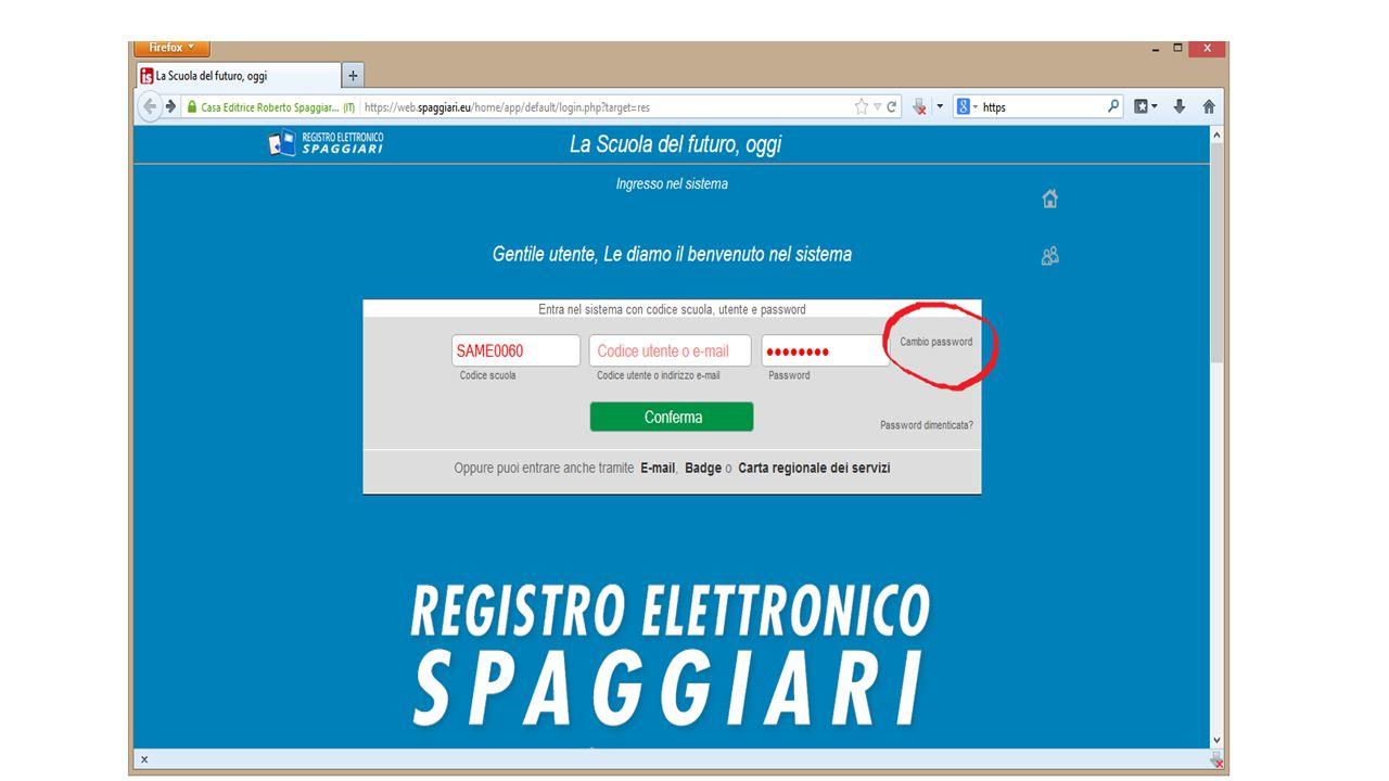 CAMBIO PASSWORD Una volta cliccato sul link 'cambio password' si aprirà la nuova finestra.
