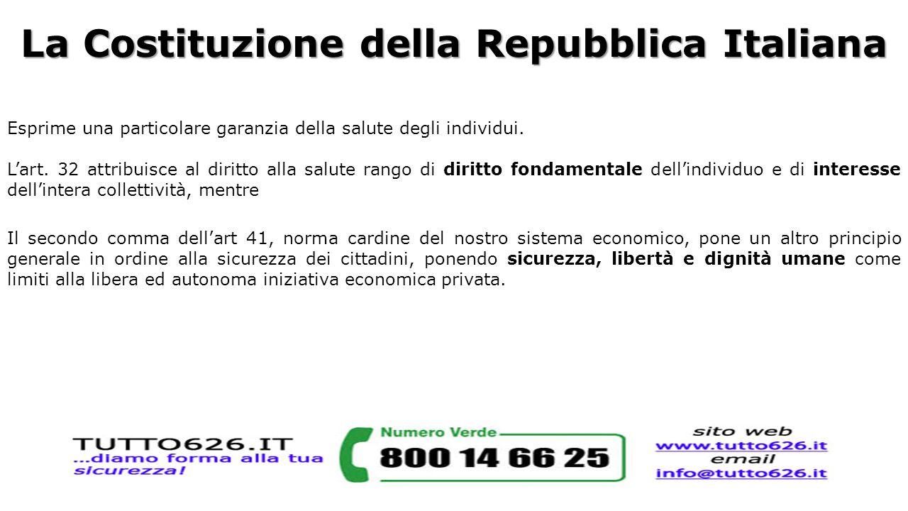 La Costituzione della Repubblica Italiana Esprime una particolare garanzia della salute degli individui. L'art. 32 attribuisce al diritto alla salute