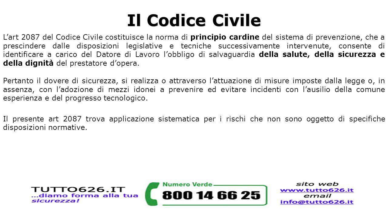 Il Codice Civile L'art 2087 del Codice Civile costituisce la norma di principio cardine del sistema di prevenzione, che a prescindere dalle disposizio
