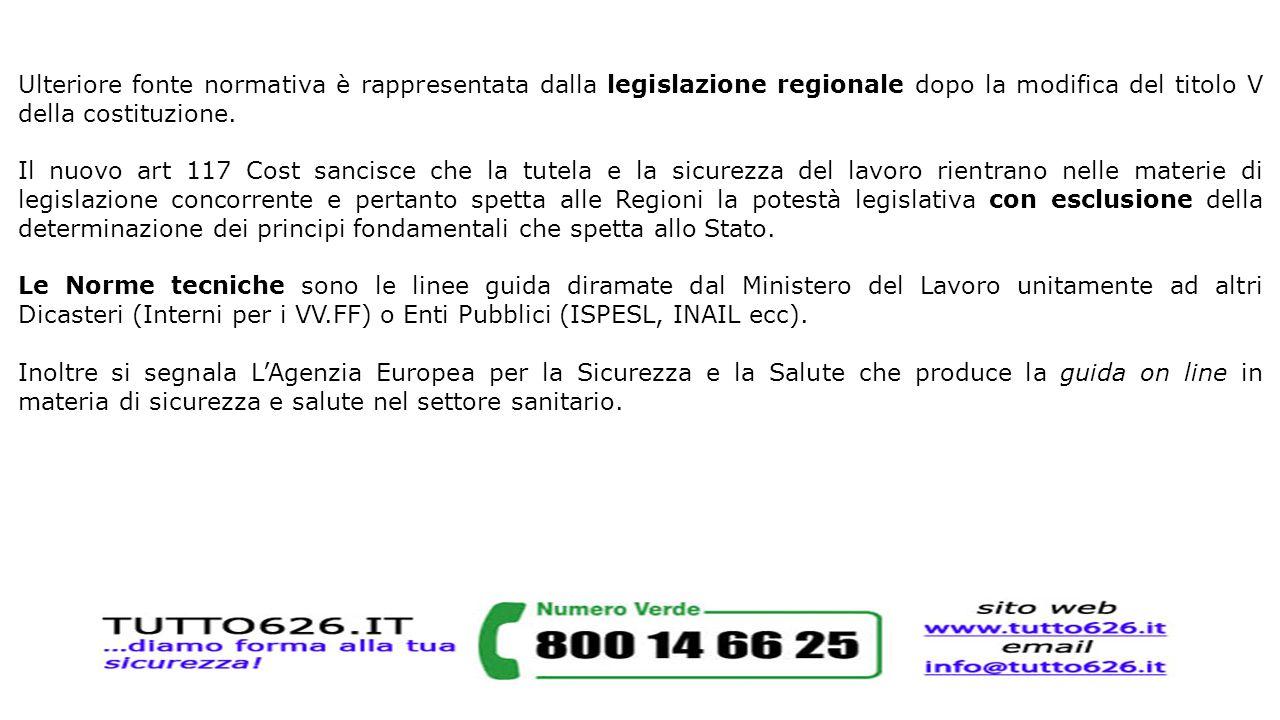 Ulteriore fonte normativa è rappresentata dalla legislazione regionale dopo la modifica del titolo V della costituzione. Il nuovo art 117 Cost sancisc