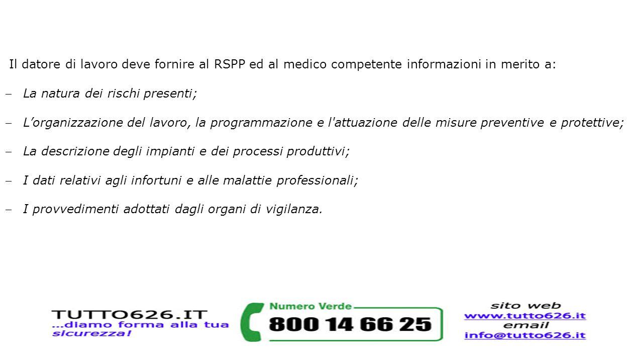 Il datore di lavoro deve fornire al RSPP ed al medico competente informazioni in merito a: La natura dei rischi presenti; L'organizzazione del lavor