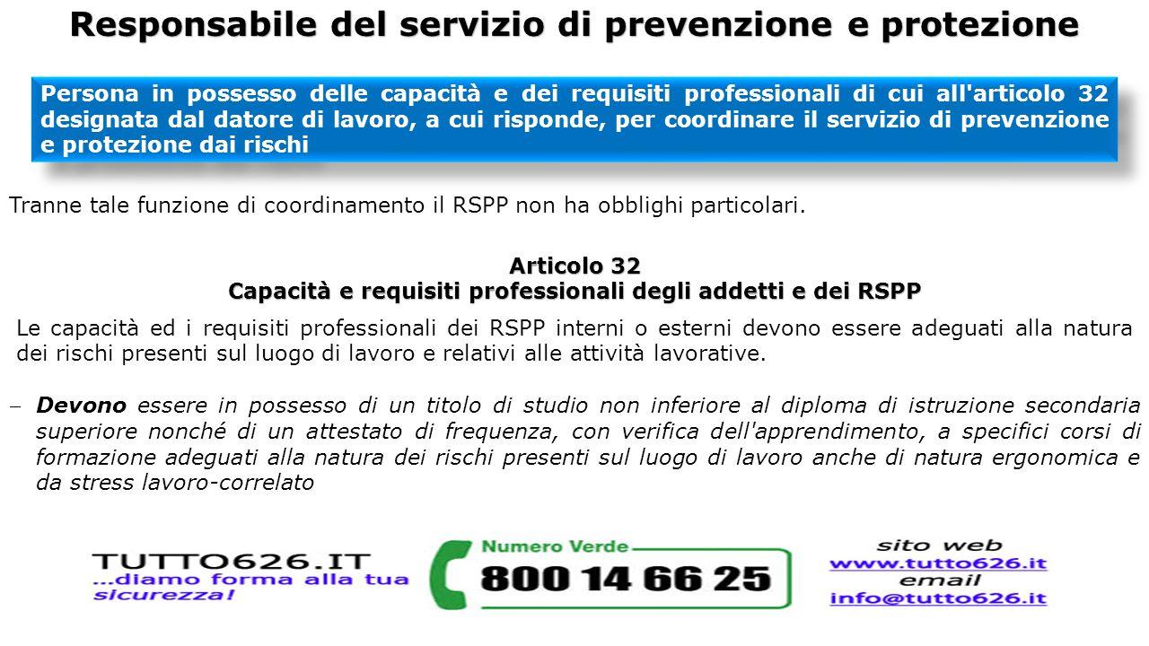 Responsabile del servizio di prevenzione e protezione Persona in possesso delle capacità e dei requisiti professionali di cui all'articolo 32 designat
