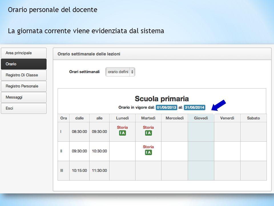 Nella home page il docente viene informato delle comunicazioni ricevute e può consultare il proprio orario personale Il menù a sinistra è sempre visib