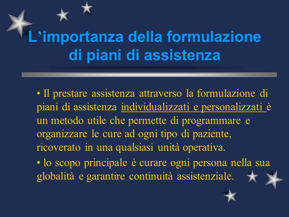 L ' importanza della formulazione di piani di assistenza Il prestare assistenza attraverso la formulazione di piani di assistenza individualizzati e p