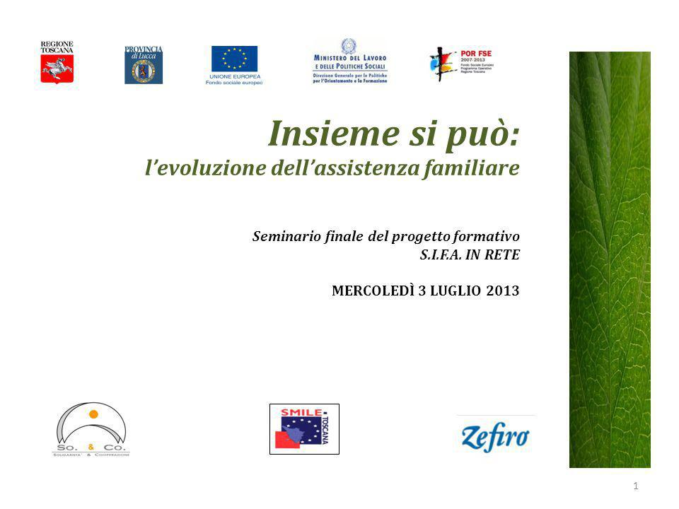 Insieme si può: l'evoluzione dell'assistenza familiare Seminario finale del progetto formativo S.I.F.A. IN RETE MERCOLEDÌ 3 LUGLIO 2013 1