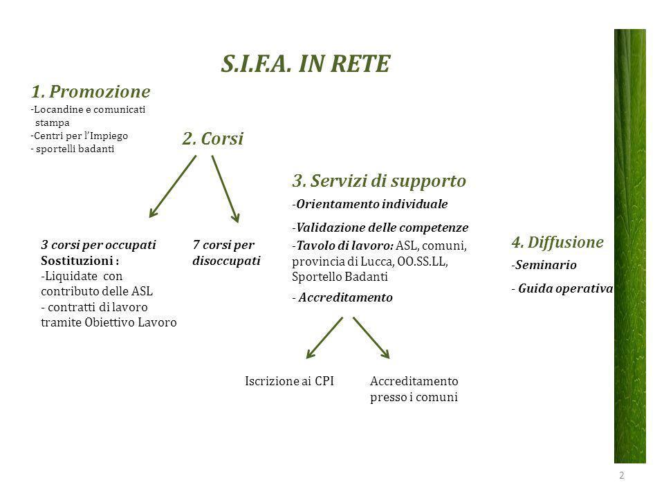 S.I.F.A. IN RETE 1. Promozione -Locandine e comunicati stampa -Centri per l'Impiego - sportelli badanti 2. Corsi 3. Servizi di supporto -Orientamento