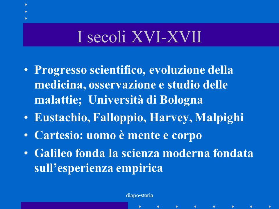 diapo-storia I secoli XVI-XVII Progresso scientifico, evoluzione della medicina, osservazione e studio delle malattie; Università di Bologna Eustachio