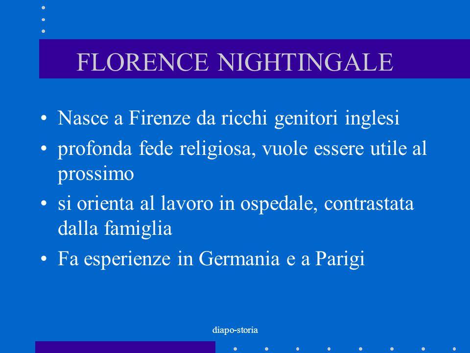 diapo-storia FLORENCE NIGHTINGALE Nasce a Firenze da ricchi genitori inglesi profonda fede religiosa, vuole essere utile al prossimo si orienta al lav