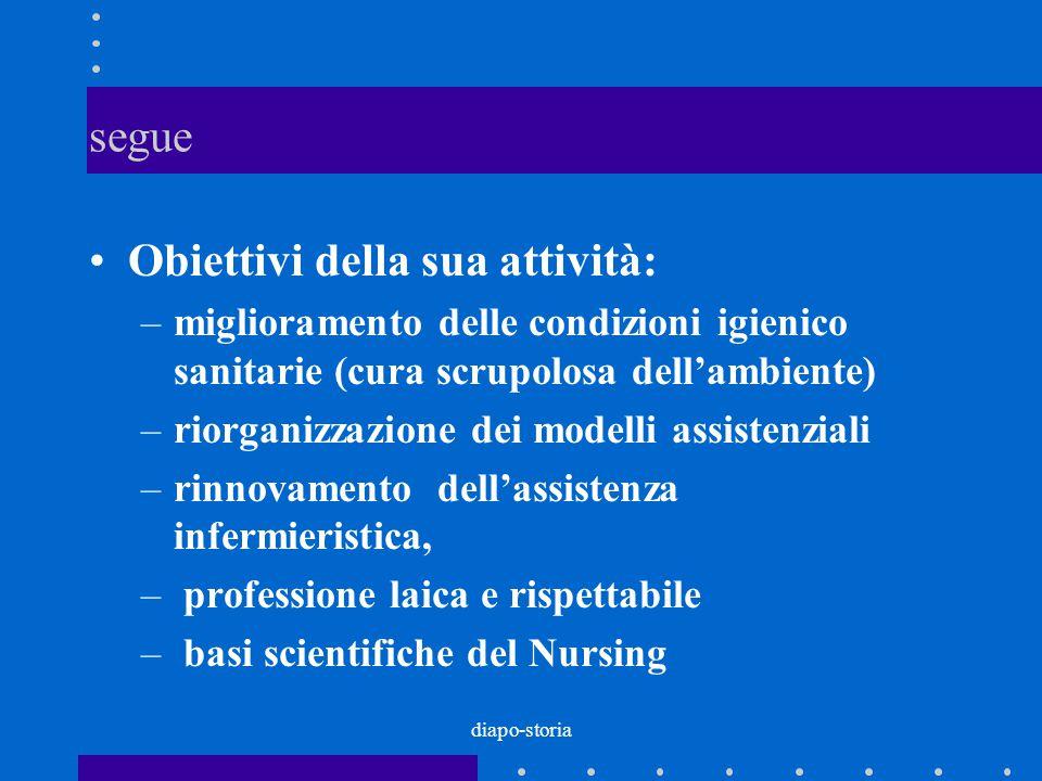 diapo-storia segue Obiettivi della sua attività: –miglioramento delle condizioni igienico sanitarie (cura scrupolosa dell'ambiente) –riorganizzazione