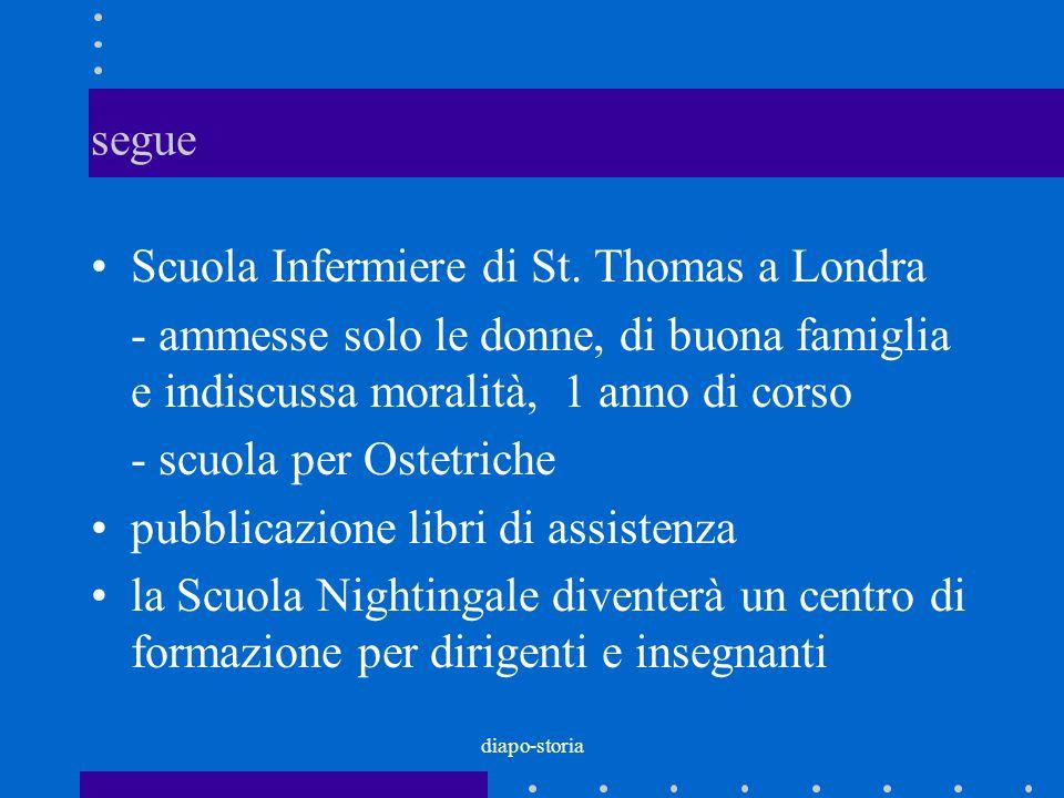 diapo-storia segue Scuola Infermiere di St. Thomas a Londra - ammesse solo le donne, di buona famiglia e indiscussa moralità, 1 anno di corso - scuola