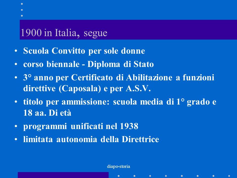 diapo-storia 1900 in Italia, segue Scuola Convitto per sole donne corso biennale - Diploma di Stato 3° anno per Certificato di Abilitazione a funzioni