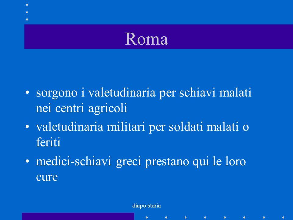 diapo-storia Roma sorgono i valetudinaria per schiavi malati nei centri agricoli valetudinaria militari per soldati malati o feriti medici-schiavi gre