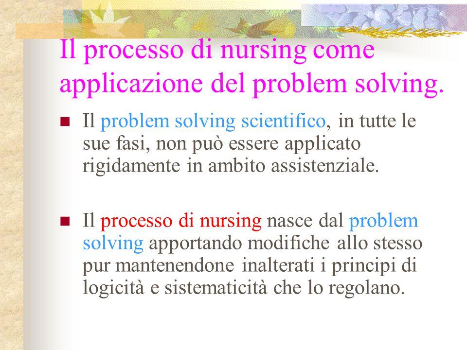 Il processo di nursing come applicazione del problem solving. Il problem solving scientifico, in tutte le sue fasi, non può essere applicato rigidamen