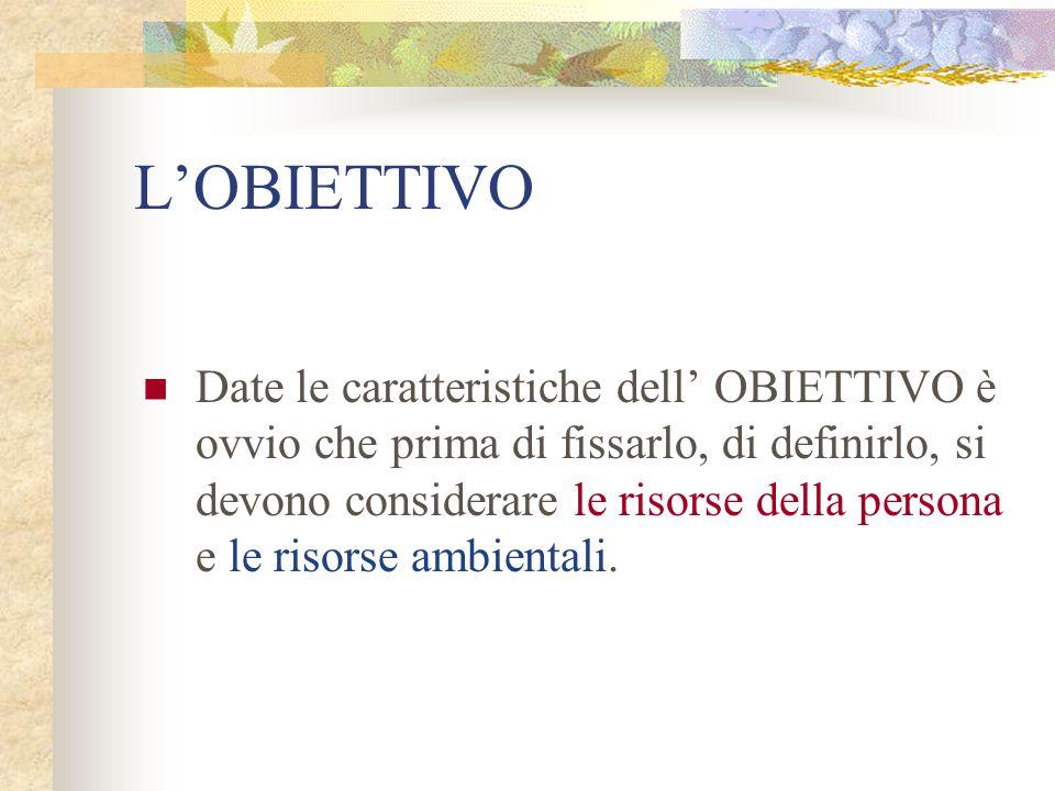 L'OBIETTIVO Date le caratteristiche dell' OBIETTIVO è ovvio che prima di fissarlo, di definirlo, si devono considerare le risorse della persona e le r