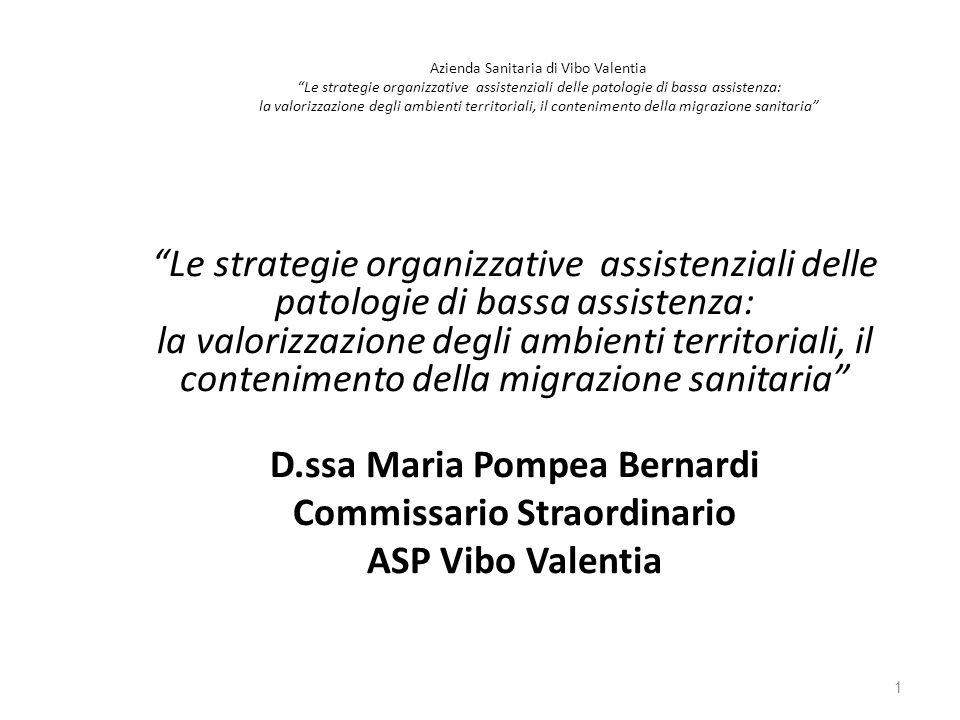 """Azienda Sanitaria di Vibo Valentia """"Le strategie organizzative assistenziali delle patologie di bassa assistenza: la valorizzazione degli ambienti ter"""