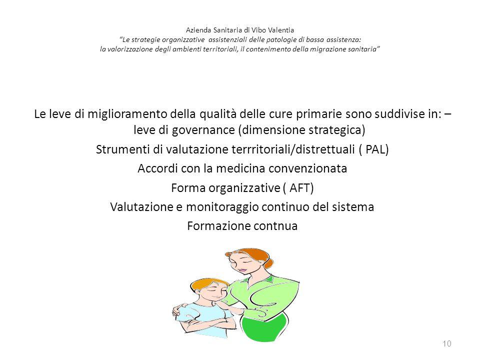 Le leve di miglioramento della qualità delle cure primarie sono suddivise in: – leve di governance (dimensione strategica) Strumenti di valutazione te