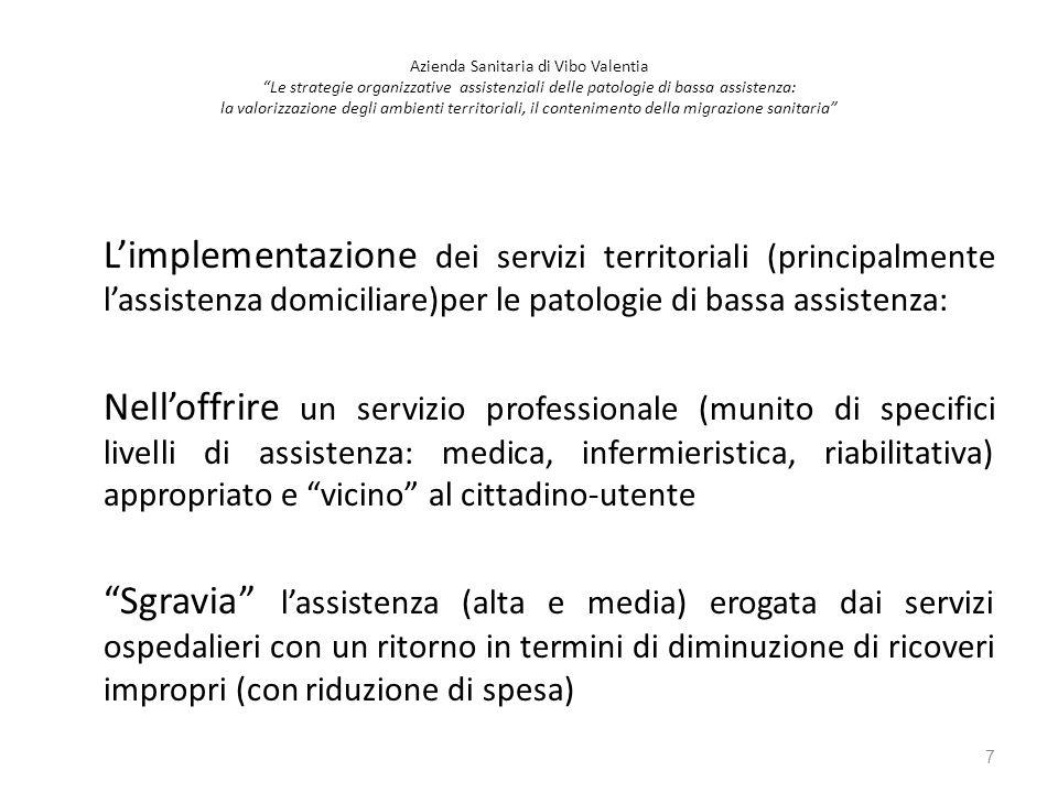 L'implementazione dei servizi territoriali (principalmente l'assistenza domiciliare)per le patologie di bassa assistenza: Nell'offrire un servizio pro