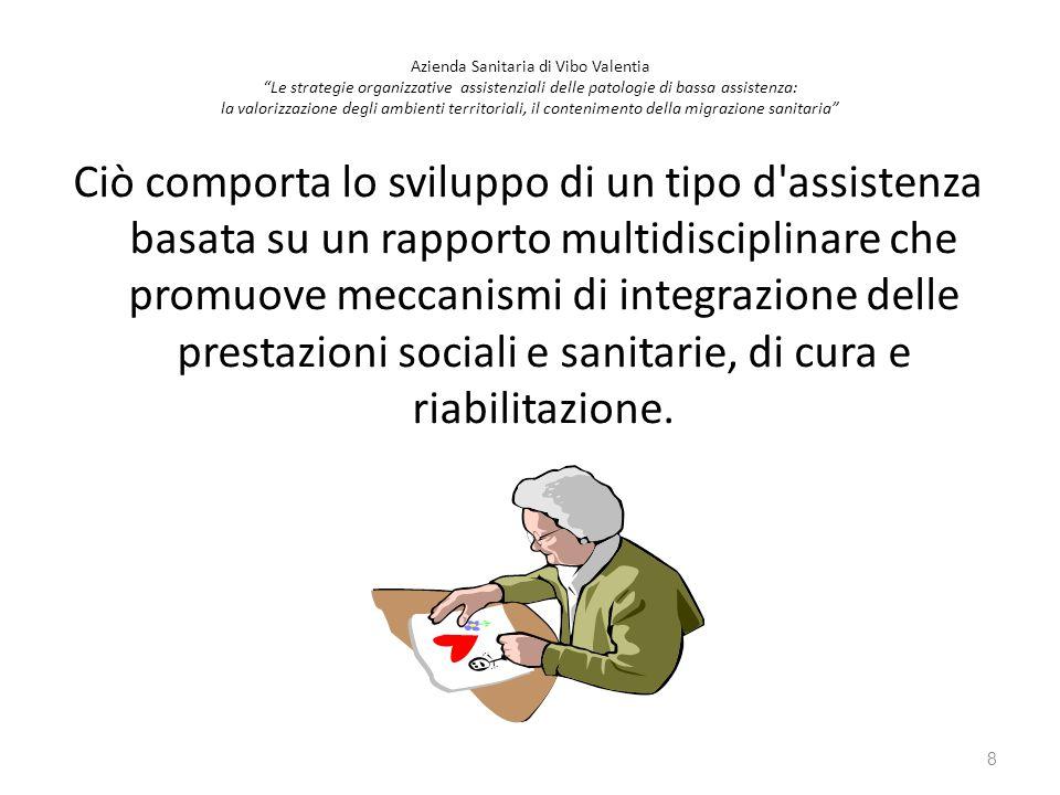 Ciò comporta lo sviluppo di un tipo d'assistenza basata su un rapporto multidisciplinare che promuove meccanismi di integrazione delle prestazioni soc