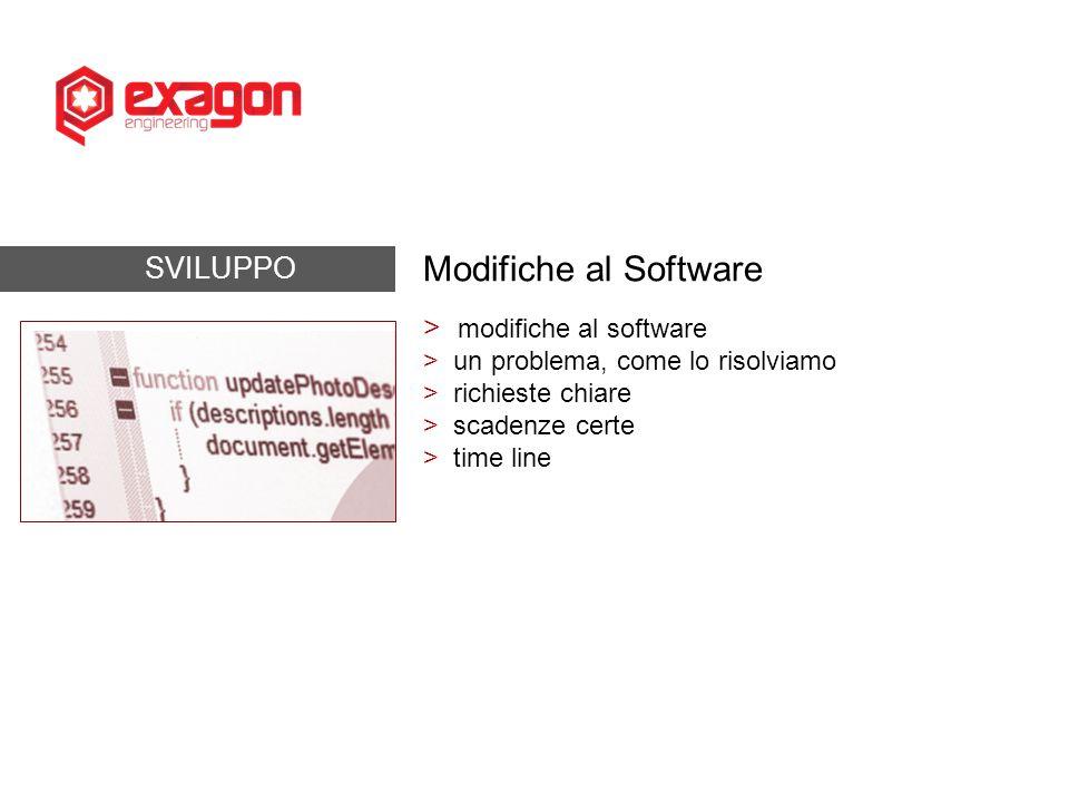SVILUPPO Modifiche al Software > modifiche al software > un problema, come lo risolviamo > richieste chiare > scadenze certe > time line