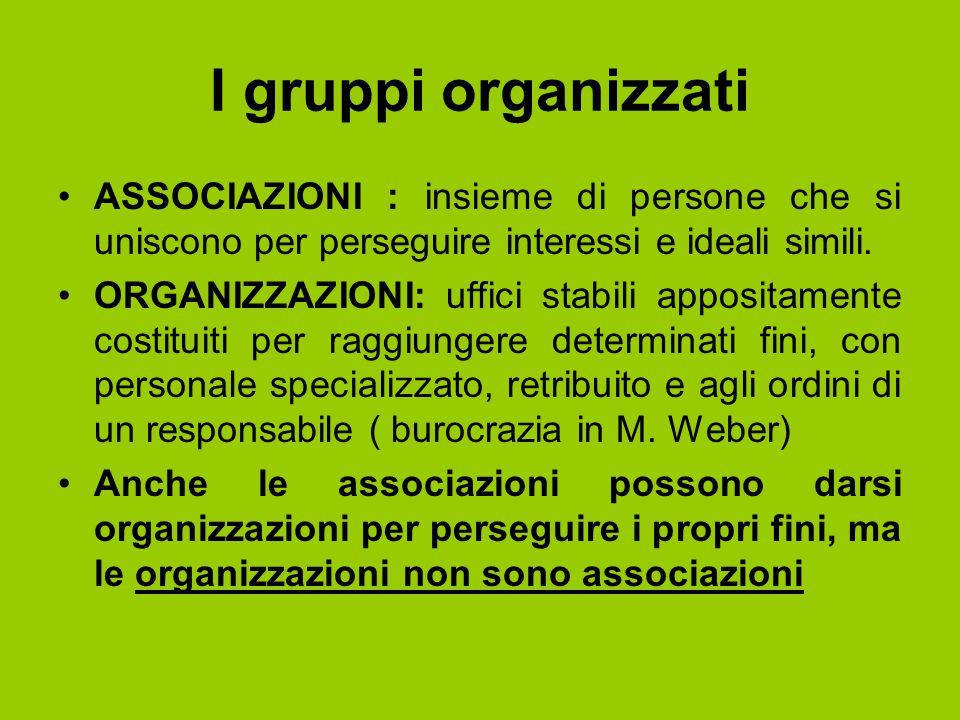 I gruppi organizzati ASSOCIAZIONI : insieme di persone che si uniscono per perseguire interessi e ideali simili. ORGANIZZAZIONI: uffici stabili apposi