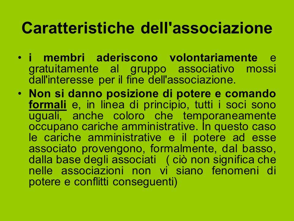 Caratteristiche dell'associazione i membri aderiscono volontariamente e gratuitamente al gruppo associativo mossi dall'interesse per il fine dell'asso
