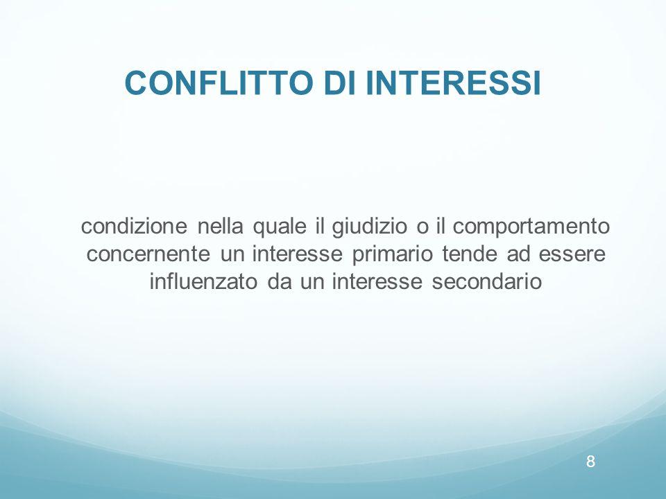 CONFLITTO DI INTERESSI condizione nella quale il giudizio o il comportamento concernente un interesse primario tende ad essere influenzato da un interesse secondario 8
