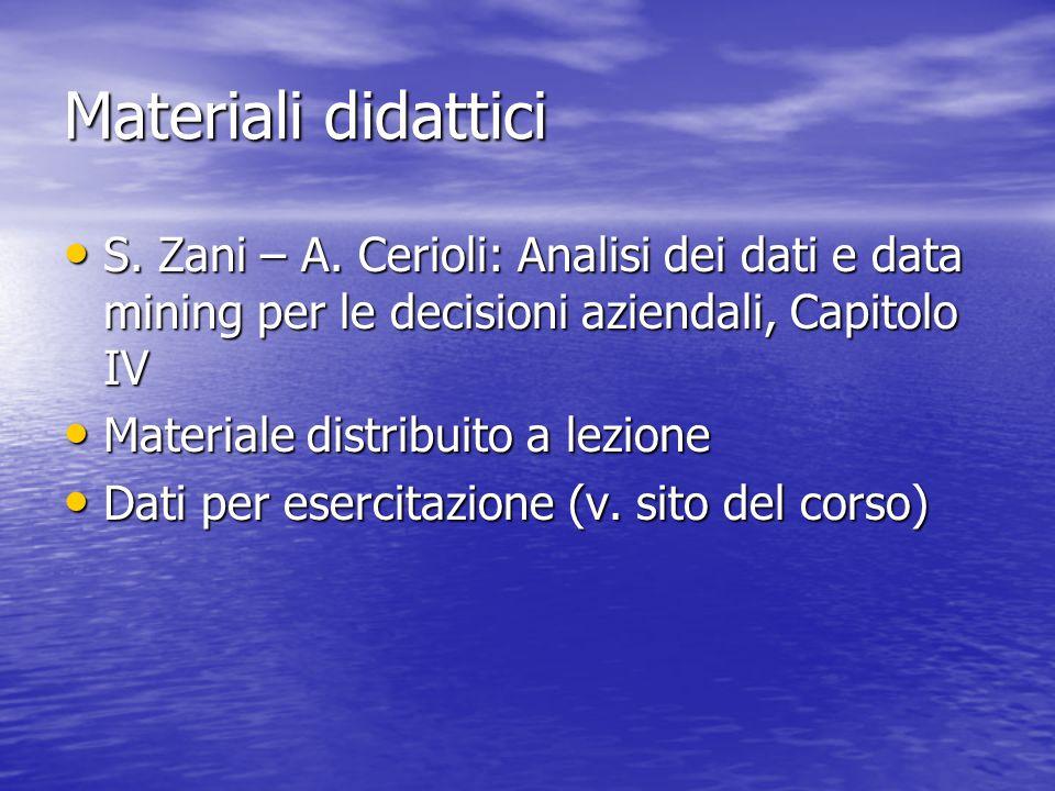 Materiali didattici S. Zani – A. Cerioli: Analisi dei dati e data mining per le decisioni aziendali, Capitolo IV S. Zani – A. Cerioli: Analisi dei dat