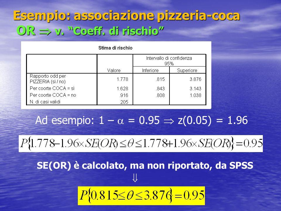 """Esempio: associazione pizzeria-coca OR  v. """"Coeff. di rischio"""" Ad esempio: 1 –  = 0.95  z(0.05) = 1.96  SE(OR) è calcolato, ma non riportato, da S"""
