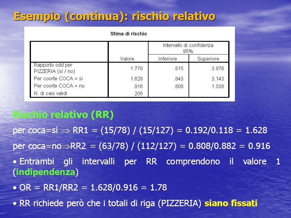 Esempio (continua): rischio relativo Rischio relativo (RR) per coca=sì  RR1 = (15/78) / (15/127) = 0.192/0.118 = 1.628 per coca=no  RR2 = (63/78) /