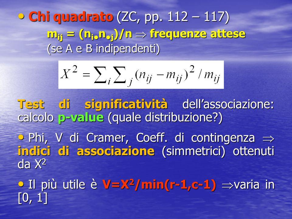 Chi quadrato (ZC, pp. 112 – 117) Chi quadrato (ZC, pp. 112 – 117) m ij = (n i n j )/n  frequenze attese (se A e B indipendenti) Test di significativi