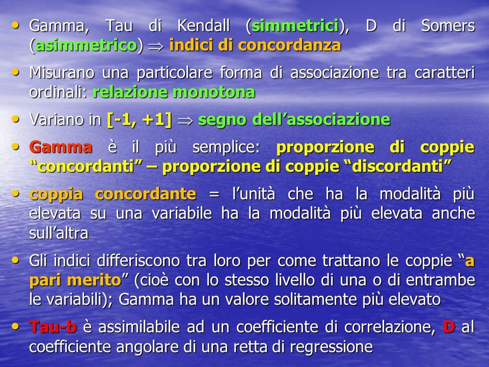 Gamma, Tau di Kendall (simmetrici), D di Somers (asimmetrico)  indici di concordanza Gamma, Tau di Kendall (simmetrici), D di Somers (asimmetrico) 