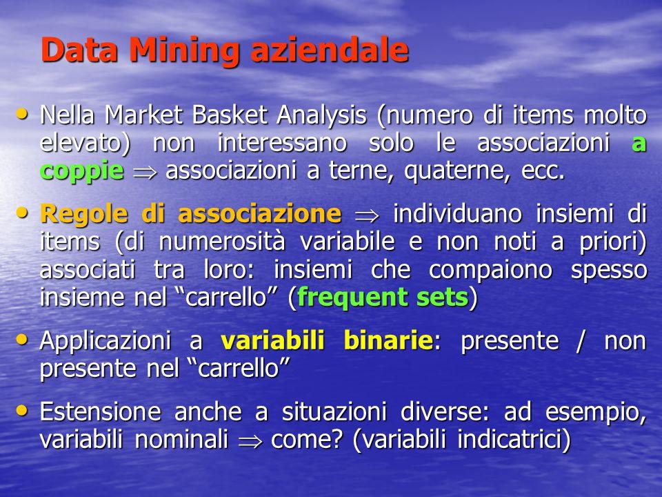 Data Mining aziendale Nella Market Basket Analysis (numero di items molto elevato) non interessano solo le associazioni a coppie  associazioni a tern