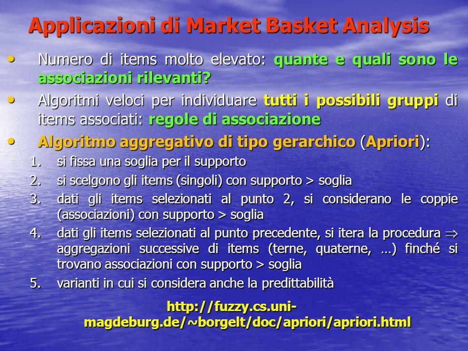 Applicazioni di Market Basket Analysis Numero di items molto elevato: quante e quali sono le associazioni rilevanti? Numero di items molto elevato: qu