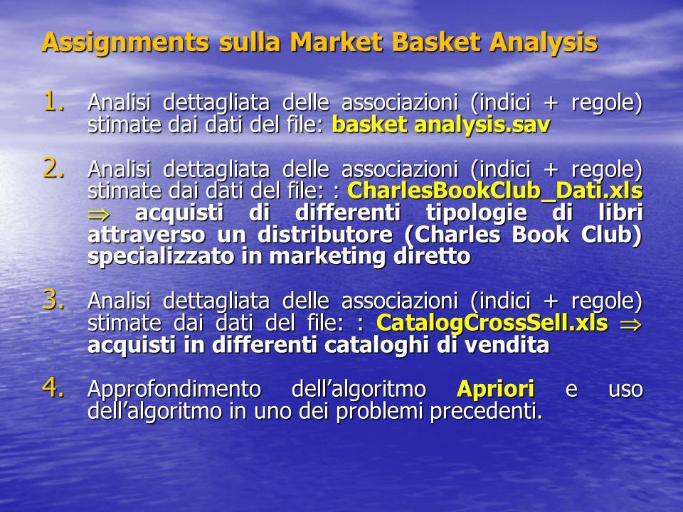 Assignments sulla Market Basket Analysis 1. Analisi dettagliata delle associazioni (indici + regole) stimate dai dati del file: basket analysis.sav 2.