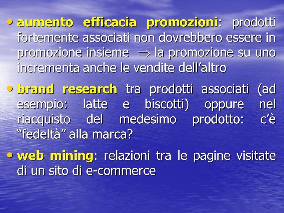 aumento efficacia promozioni: prodotti fortemente associati non dovrebbero essere in promozione insieme  la promozione su uno incrementa anche le ven