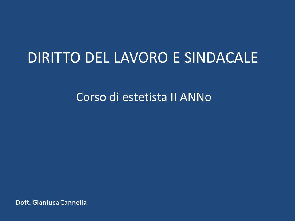 DIRITTO DEL LAVORO E SINDACALE Corso di estetista II ANNo Dott. Gianluca Cannella