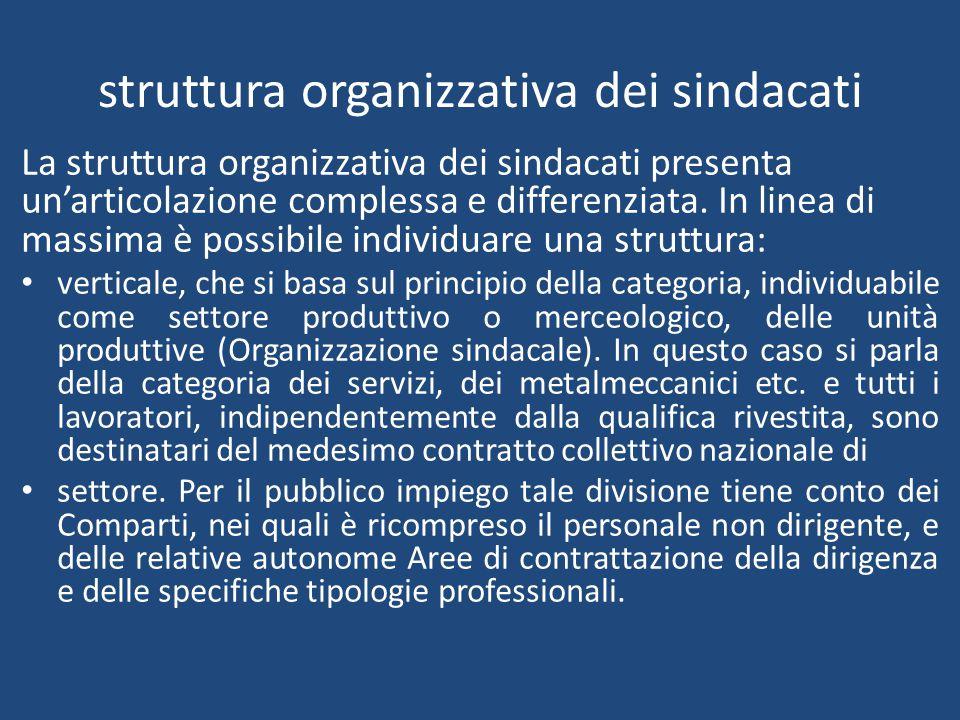 struttura organizzativa dei sindacati La struttura organizzativa dei sindacati presenta un'articolazione complessa e differenziata.