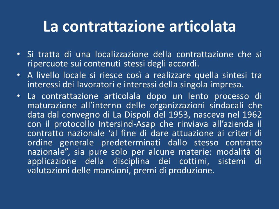 La contrattazione articolata Si tratta di una localizzazione della contrattazione che si ripercuote sui contenuti stessi degli accordi.