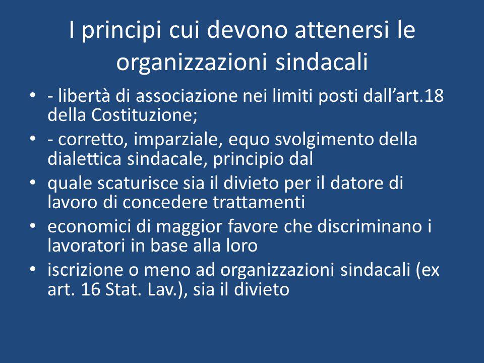 I principi cui devono attenersi le organizzazioni sindacali per il datore di lavoro e per le associazioni di datori di lavoro di costituire o sostenere, con mezzi finanziari o altrimenti, associazioni sindacali di lavoratori, i cosiddetti sindacati di comodo (ex art.