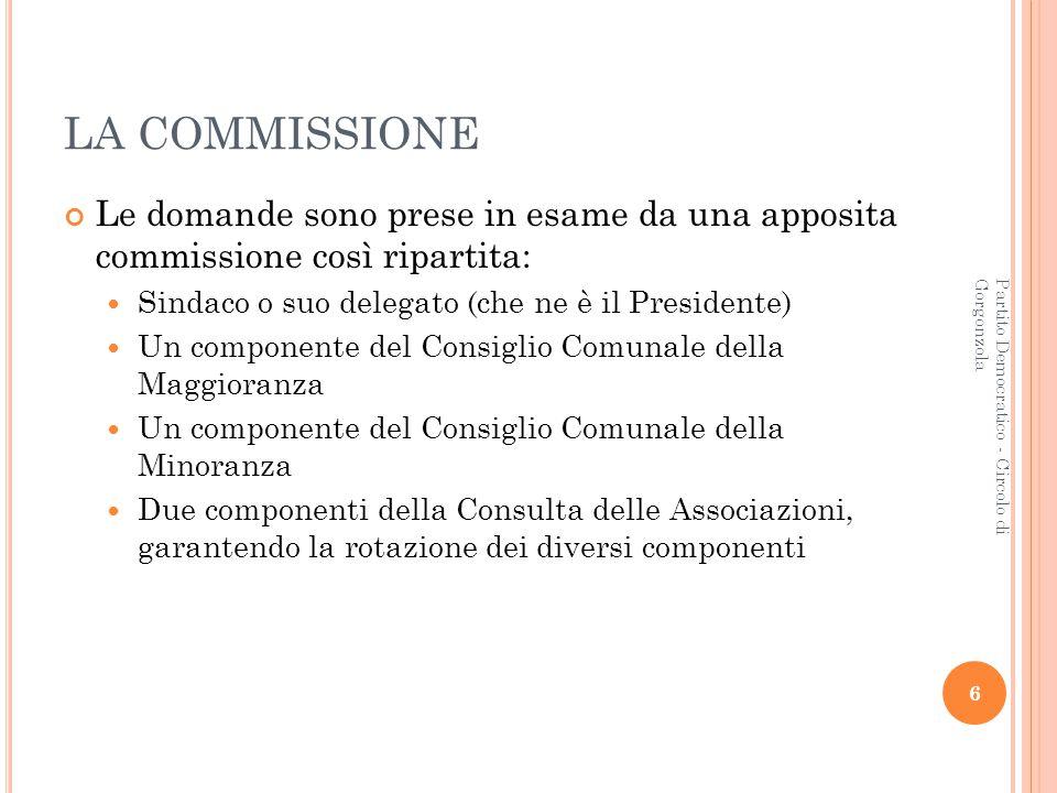 6 Partito Democratico - Circolo di Gorgonzola LA COMMISSIONE Le domande sono prese in esame da una apposita commissione così ripartita: Sindaco o suo